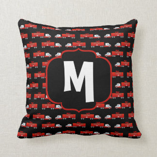 Fireman Fire Truck Red and Black Initial Firetruck Cushion
