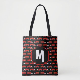 Fireman Fire Truck Red and Black Initial Firetruck Tote Bag