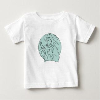Fireman Firefighter Axe Hose Circle Mono Line Baby T-Shirt