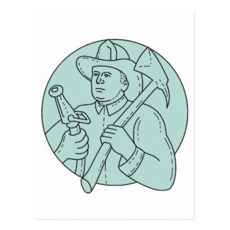 Fireman Firefighter Axe Hose Circle Mono Line Postcard