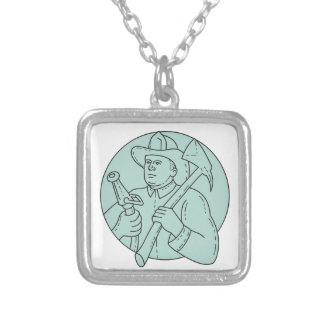 Fireman Firefighter Axe Hose Circle Mono Line Silver Plated Necklace