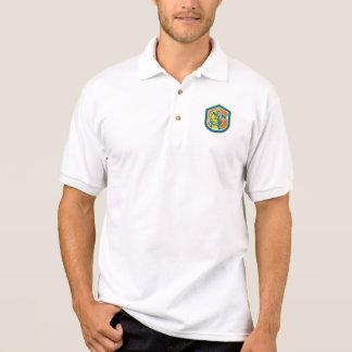 Fireman Firefighter Holding Fire Axe Shield Polo T-shirts