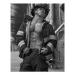 Fireman Firefighter Hunk Poster