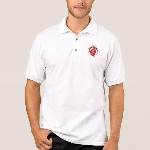 Fireman Firefighter Standing Folding Arms Circle Polo T-shirt