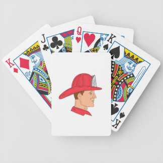 Fireman Firefighter Vintage Helmet Drawing Bicycle Playing Cards