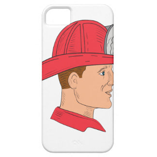 Fireman Firefighter Vintage Helmet Drawing iPhone 5 Cover