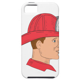 Fireman Firefighter Vintage Helmet Drawing iPhone 5 Covers