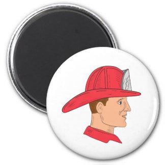 Fireman Firefighter Vintage Helmet Drawing Magnet