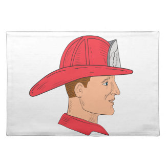 Fireman Firefighter Vintage Helmet Drawing Placemat