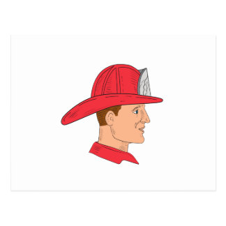 Fireman Firefighter Vintage Helmet Drawing Postcard