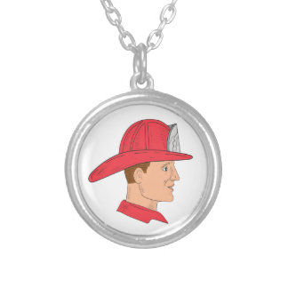 Fireman Firefighter Vintage Helmet Drawing Silver Plated Necklace