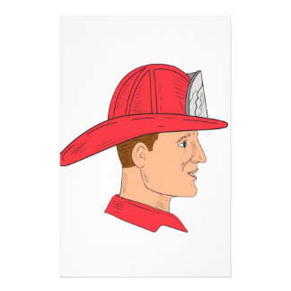Fireman Firefighter Vintage Helmet Drawing Stationery