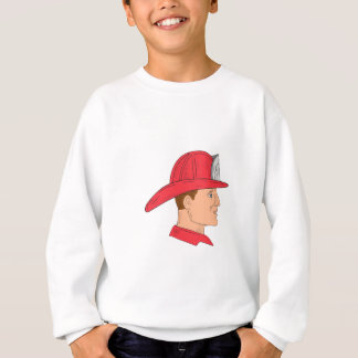 Fireman Firefighter Vintage Helmet Drawing Sweatshirt
