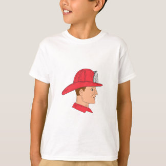 Fireman Firefighter Vintage Helmet Drawing T-Shirt