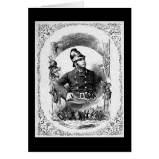 """""""Fireman/Firefighter"""" Vintage Illustration. Greeting Card"""