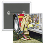 Fireman Firefighting Suit and Truck Button