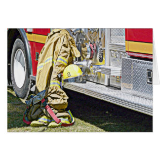 Fireman Firefighting Suit and Truck Greeting Card