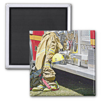 Fireman Firefighting Suit and Truck Fridge Magnets