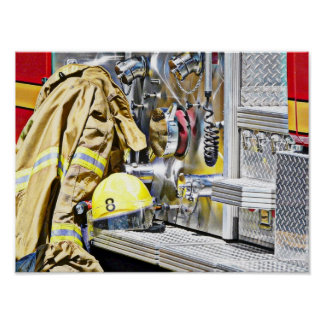 Fireman Gear and Truck Poster
