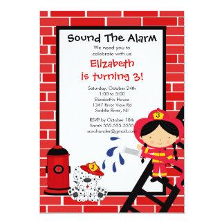Fireman girl Firetruck Birthday Party 5x7 Paper Invitation Card