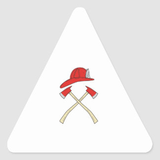 Fireman Helmet Crossed Fire Axe Drawing Triangle Sticker