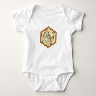Fireman Holding Fire Axe Shield Mono Line Baby Bodysuit