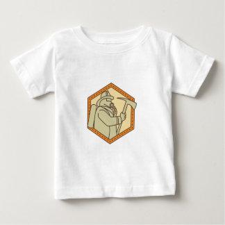 Fireman Holding Fire Axe Shield Mono Line Baby T-Shirt