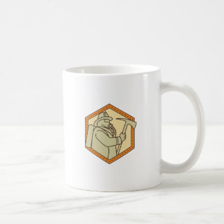 Fireman Holding Fire Axe Shield Mono Line Coffee Mug