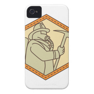 Fireman Holding Fire Axe Shield Mono Line iPhone 4 Covers