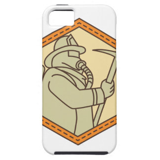 Fireman Holding Fire Axe Shield Mono Line iPhone 5 Covers