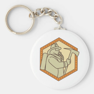 Fireman Holding Fire Axe Shield Mono Line Key Ring