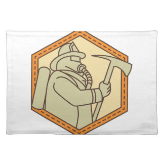 Fireman Holding Fire Axe Shield Mono Line Placemat