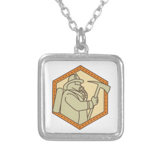 Fireman Holding Fire Axe Shield Mono Line Silver Plated Necklace