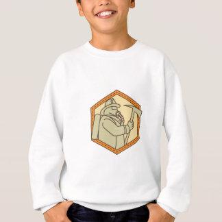 Fireman Holding Fire Axe Shield Mono Line Sweatshirt