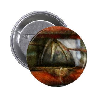 Fireman - Leather Head Pinback Button