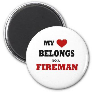 Fireman Love 6 Cm Round Magnet