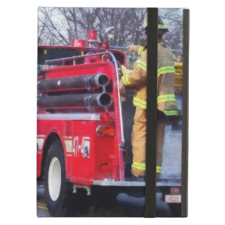 Fireman On Back Of Fire Truck Cover For iPad Air