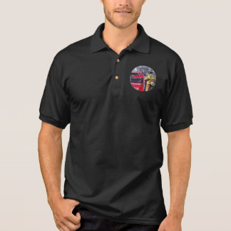 Fireman On Back Of Fire Truck Polo Shirts