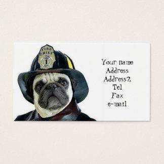 Fireman Pug business cards
