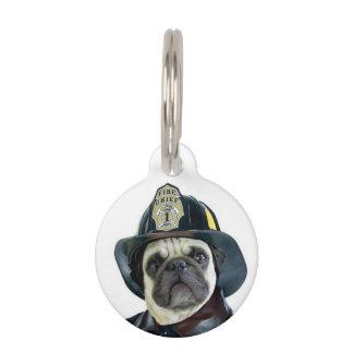 Fireman pug dog pet tag