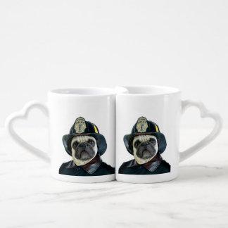 Fireman pug dog couples mug