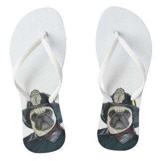 Fireman Pug Dog Thongs