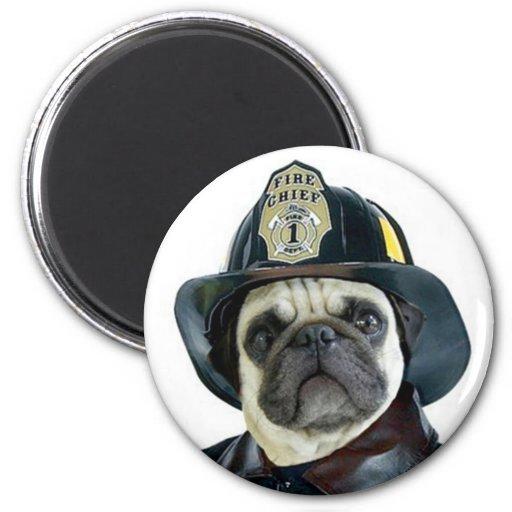 Fireman Pug magnet