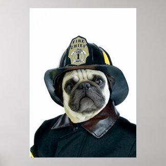 Fireman Pug poster