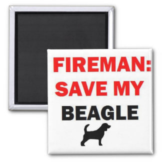 Fireman Rescue My Beagle Square Magnet
