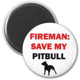 Fireman Rescue My Pitbull Fridge Magnets
