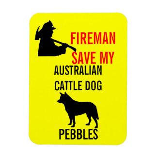 Fireman Save My Australian Cattle Dog Rectangular Photo Magnet