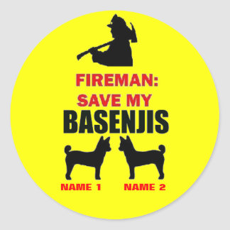 Fireman Save My Basenjis Classic Round Sticker