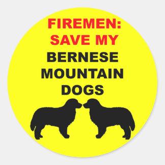 Fireman Save My Bernese Mountain Dogs Classic Round Sticker