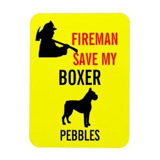 Fireman Save My Boxer Dog Fire Safety Rectangular Photo Magnet